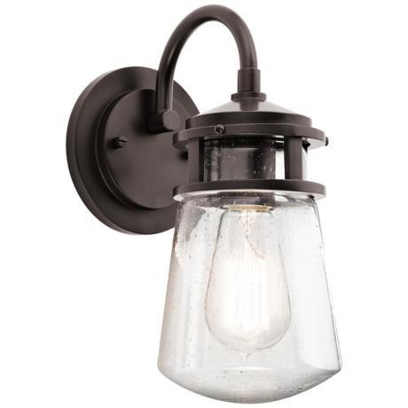 "Kichler Lyndon 11 1/4"" High Seedy Glass Outdoor Wall Light"