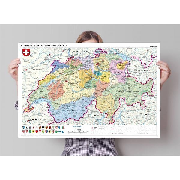 Landkarte Schweiz politisch - Poster 91.5 x 61 cm