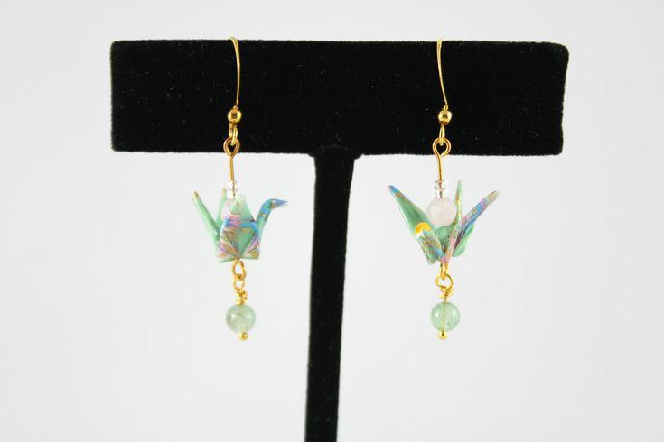 Mint & Gold Origami Crane Earrings with Aventurine and Rose Quartz