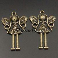 20 шт. античном стиле бронзовый тон ювелирные изделия ангел шарм кулон поиск 34 * 28 мм