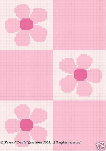 Pink Daisy Flowers Color Graph Crochet Pattern Easy | eBay