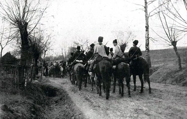 Russian Cossacks on the march in Galicia. The dirt roads quickly turned to mud whenever it rained