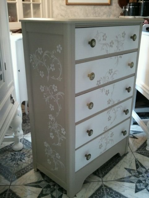 Vintage Chest Of Drawers Dresser White And Sage Green