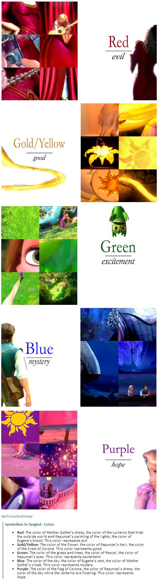 Color symbolism in Tangled// This is so cool! It makes total sense! Disney never ceases to amaze me!