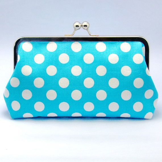 White Polka Dots on Light Blue  Large Clutch by gracefulbanquet