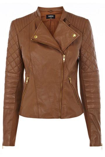 Collarless Leather Biker Jacket