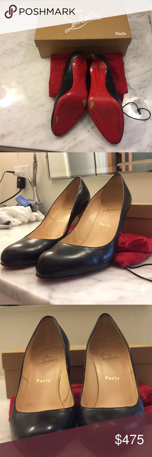 """Louboutin """"simple"""" round toe black pump. Size 9 A pair of classic black Louboutin pumps, Napa Leather in black, 2.8 """" heel. Worn twice. Excellent condition. Size 9. With box and shoe bag. Christian Louboutin Shoes Heels"""