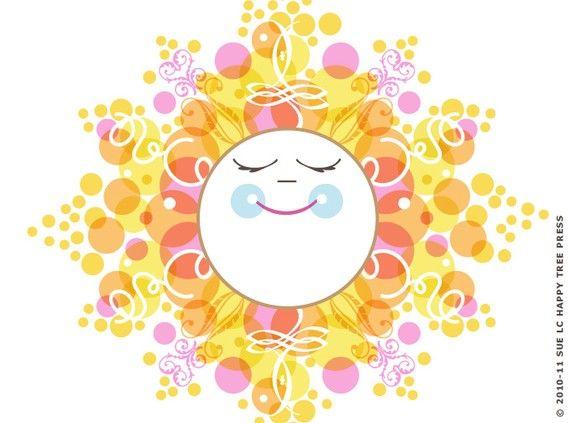 Happy Sun Art, Smiling Sun Illustration, Yellow Sun Art Print,(8x10)