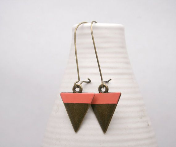 MALAM Earrings | Antique Brass Triangle Dangle with Coral Stripe by travelbysea