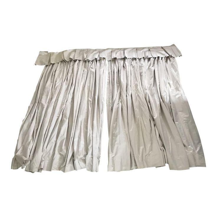Custom Platinum Satin Silk Curtain Panels With Valance – A Pair