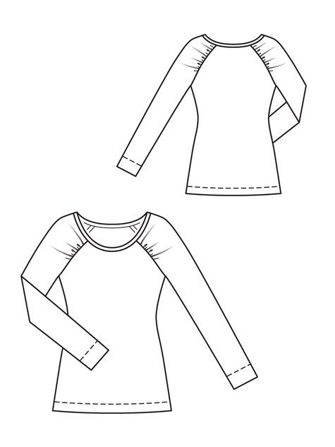 Burda - love the gathered raglan sleeves, the downloadable instructions show the sleeve shape. I would buy this pattern, but it's unavailable in my size.