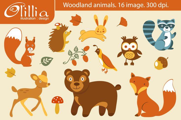 Cute Animal Illustrations on Woodland Sheerwood Forest Animals Clip