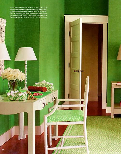 Meg Braff bedroom with Phillip Jeffries kelly green grasscloth