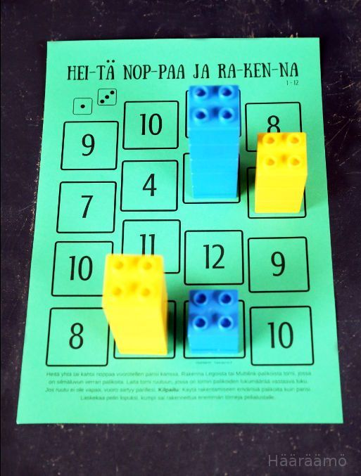 Matematiikkapeli PDF: Heitä noppaa ja rakenna