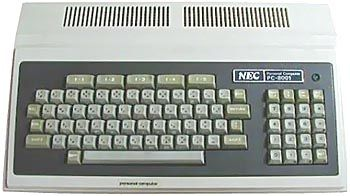 NEC  PC 8001  	    In 1979, the NEC PC-8001 was an excellent machine, offering 8 colors when most of its competitors were still monochrome. There is even a (low) graphic resolution of 160 x 100 dots. It could display capital and small letters.    The PC-8001 had great success with Japanese businesses, where it was widely used. At the time, NEC claimed that the PC-8001 represented at least 45% of their home japanese market.