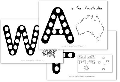 Australia dot sheet and other printables