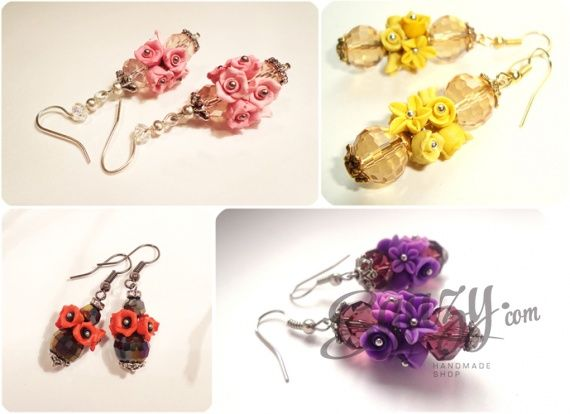 Сережки с цветами из полимерной глины