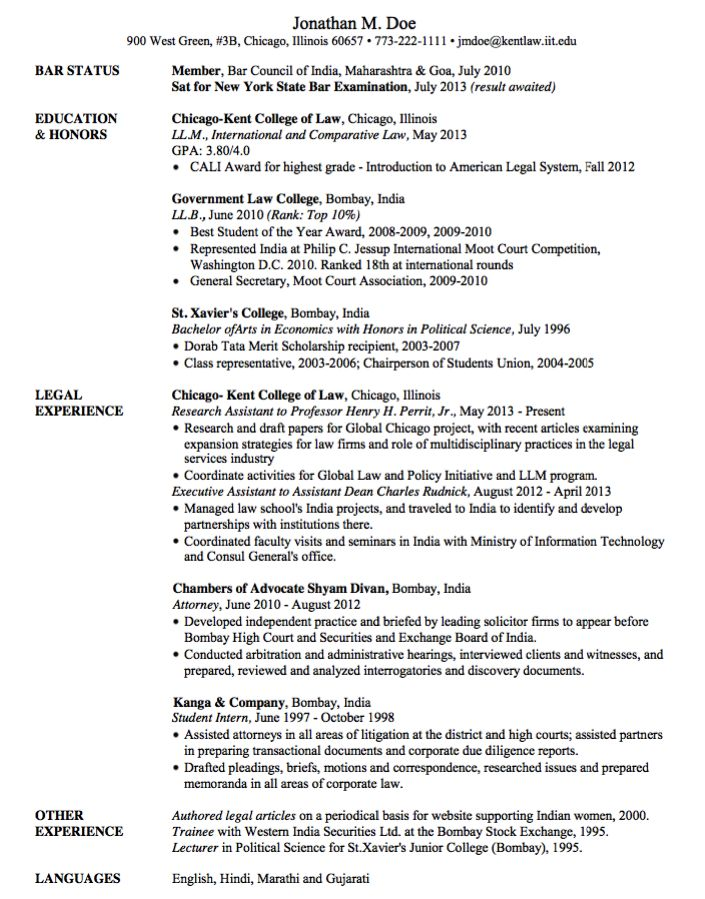 law student sample resumes