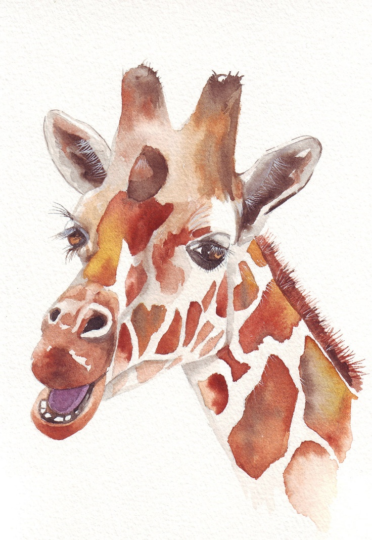 Giraffe Painting ART print of watercolor painting by Splodgepodge, $15.00