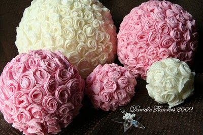 Great tutorial for these crepe paper rose balls