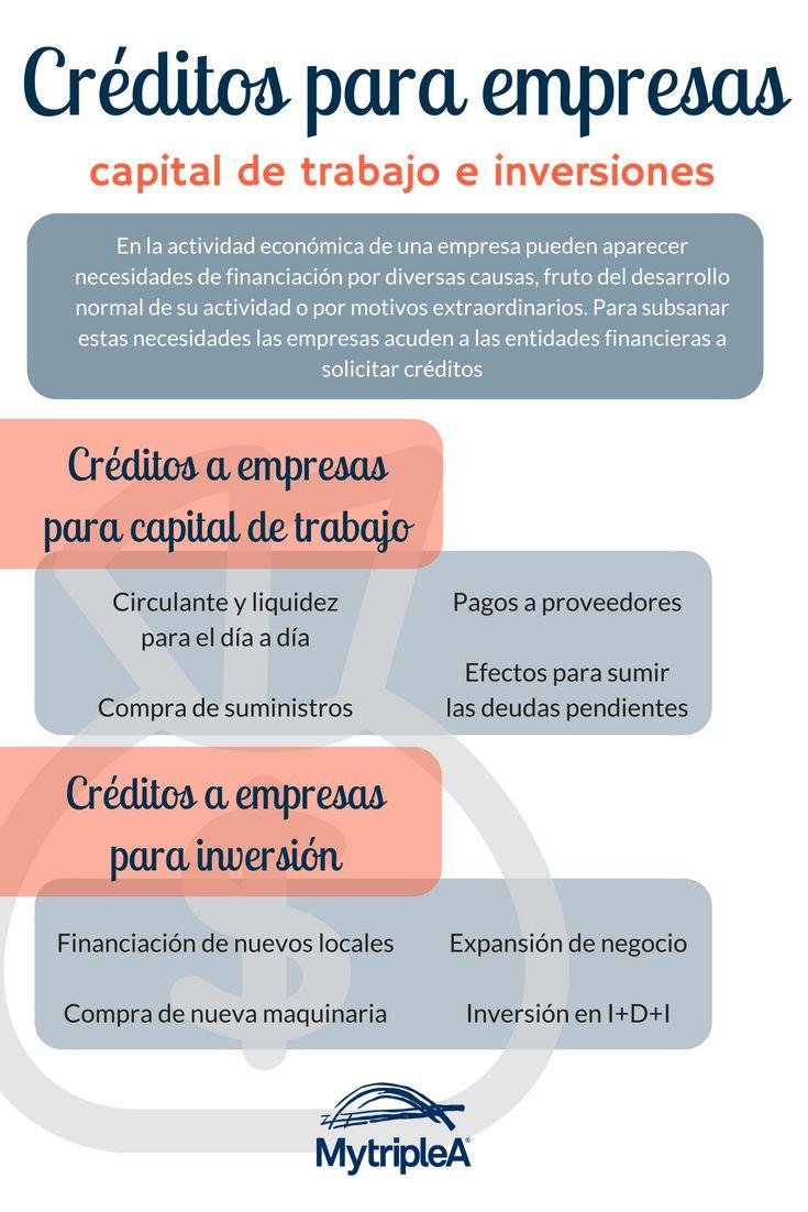 #Créditos para #empresas para #capital de #trabajo e #inversiones. Mira nuestra #infografía y más en el post pinchando en la imagen.
