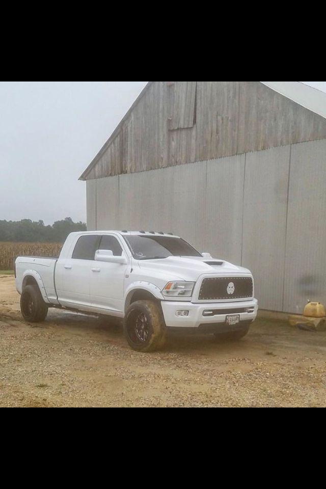 White Mega Cab Dodge Cummins with Storm Trooper Emblem in Grille #Dodge #Cummins #White #BlackWheels