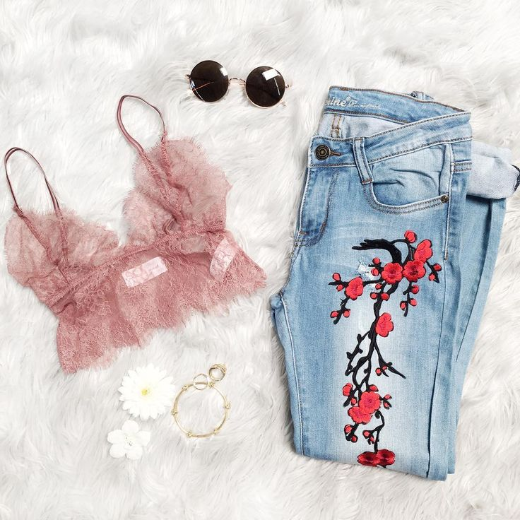 Spring essentials, all floral you Don't Be Shy Lace Bralette + Machine Cherry Bomb Embroidered Jeans