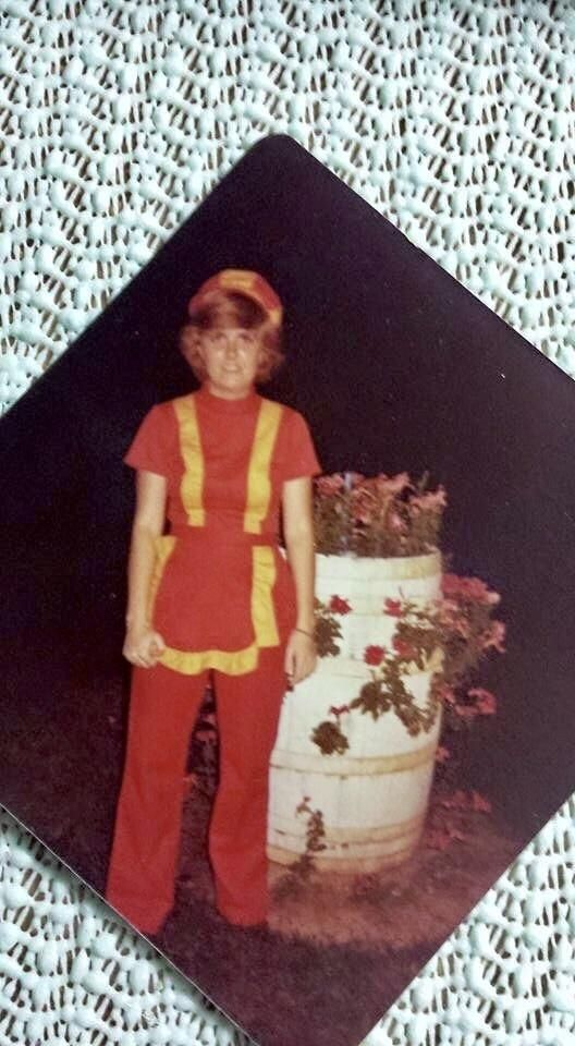my mom in her burger king uniform back in 1977