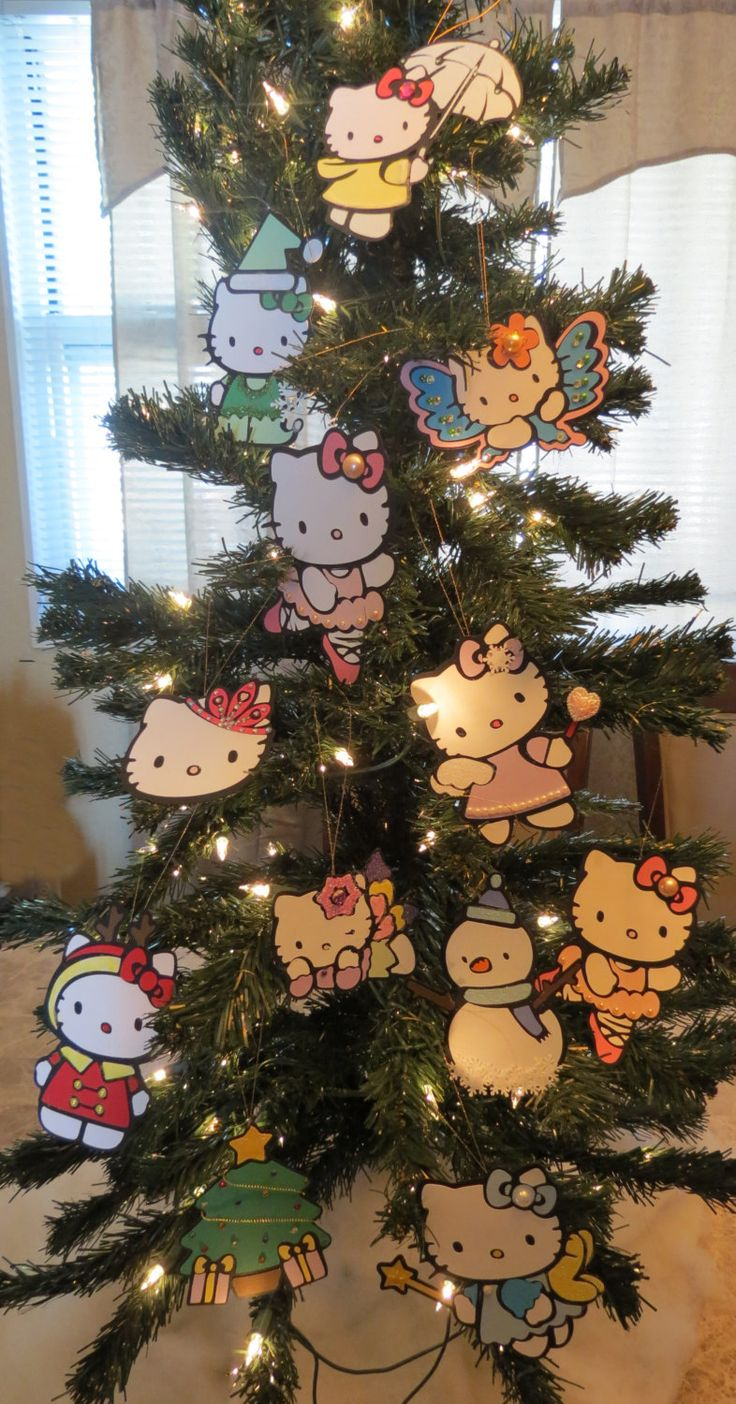 Christmas tree ornaments sets - Hello Kitty Christmas Tree Ornaments Set Of 7 By Mypaperparties On Etsy
