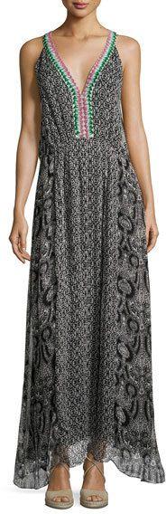 Le Sirenuse Reglan Printed Silk Maxi Dress, Black