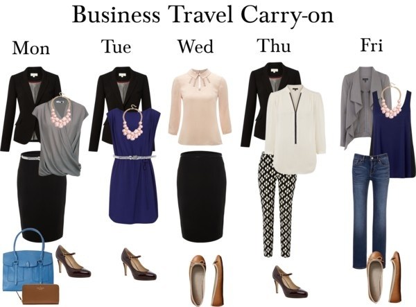 """Business Travel Carry-on Working Week Outfits"". Link is kinda spam but the pic is great inspiration."