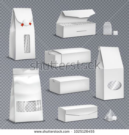 Stock Vector: Blank white paper tea bags and loose leaves packs boxes packages realistic set transparent background vector illustration