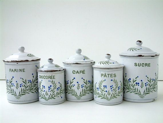 Old French Vintage Enamel Kitchen Canister Set In White With Hand Painted Bluebell Flowers Country Farmhouse Cottage Chic