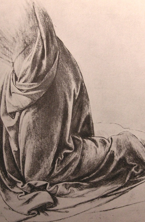 Michelangelo drawing: drapery study