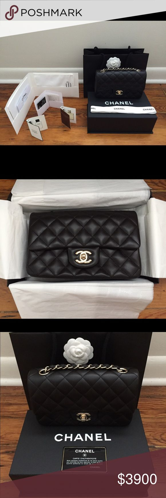 RARE NIB 2016 Black Chanel Rectangular Mini Flap The bag is Black Lambskin with the new shiny GHW. The bag is in PRISTINE condition as it has never been used. The bag was an impulse buy in July 2016 at the Chanel Boutique on Saint-Honore in Paris, France. The bag comes with everything shown in the pictures: Chanel Shopping Bag, Chanel Box with magnetic closure, Chanel Dustbag, Chanel Care Booklet and Glove, a Copy of the Receipt, and the Authenticity Card. The Bag does not come with Retail…