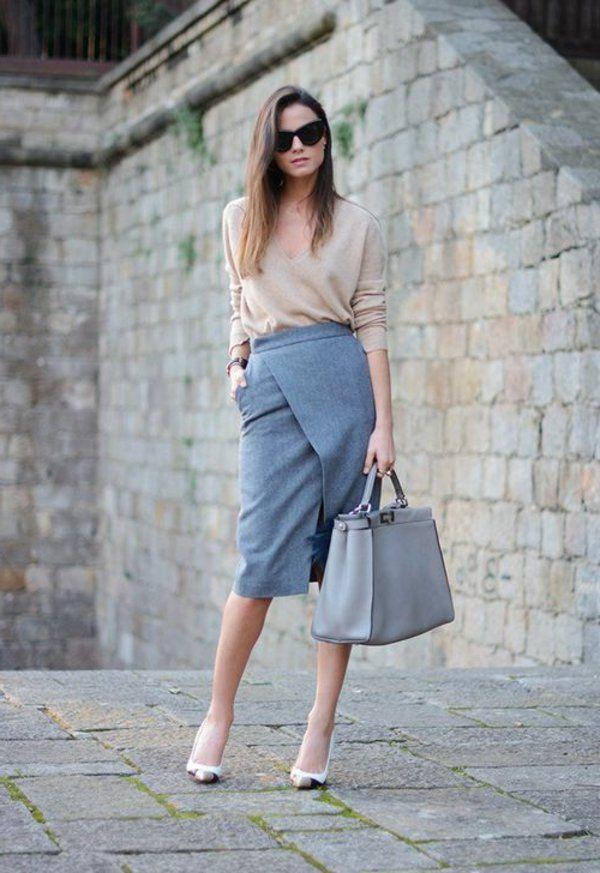 jupe portefeuille, habits pour l'office