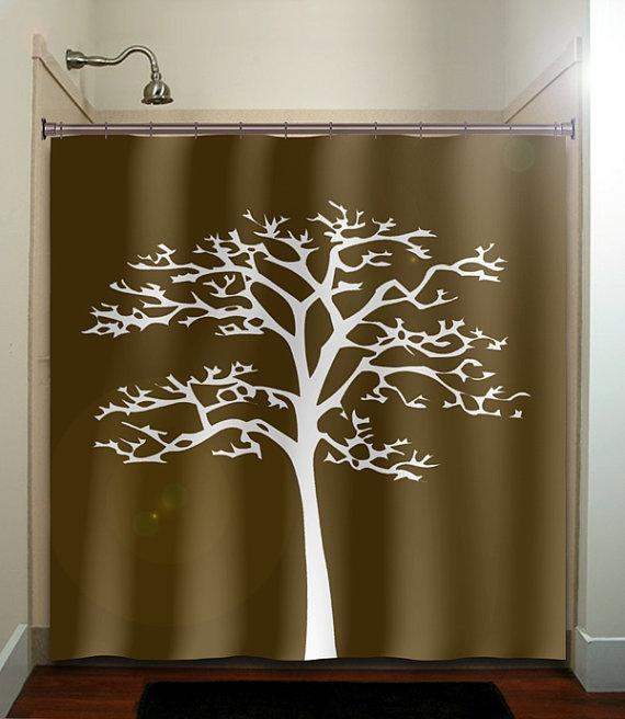 White tree brown shower curtain bathroom decor fabric kids bath ...