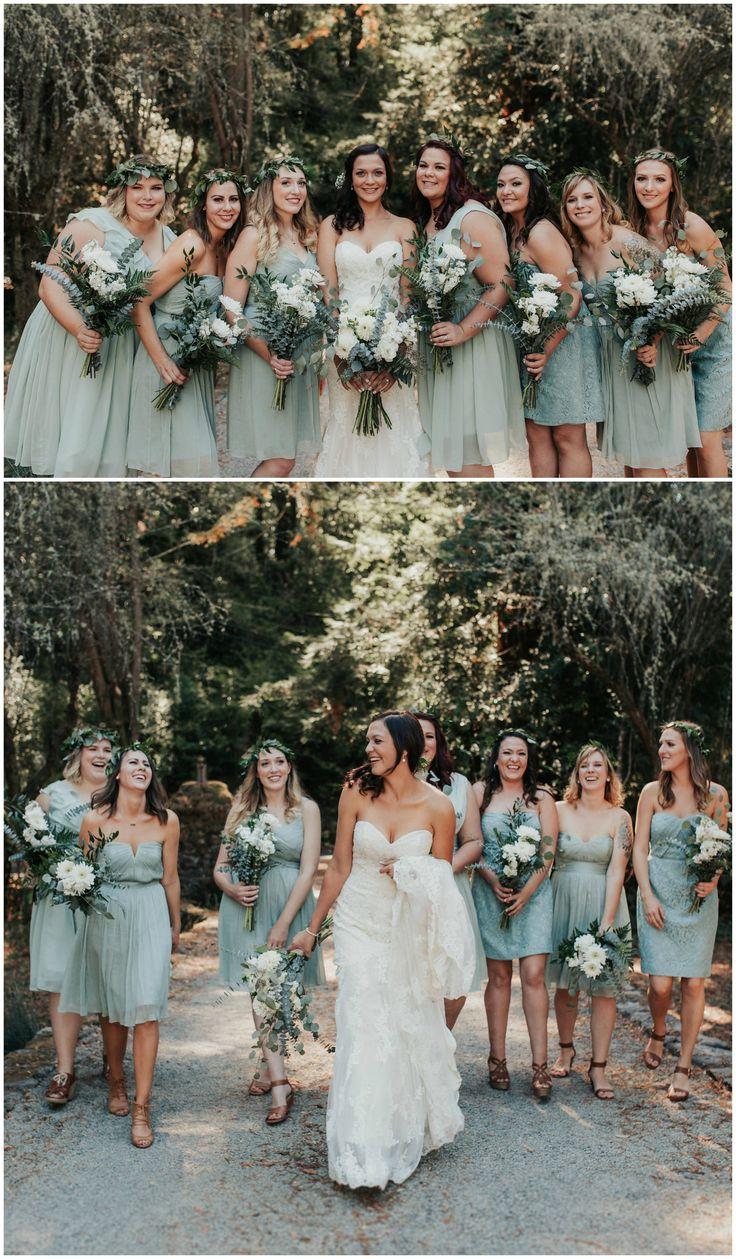 Seafoam green bridal party, short bridesmaid dresses, leafy crowns, natural white floral wedding bouquets // Alyssa Luzaich Photography