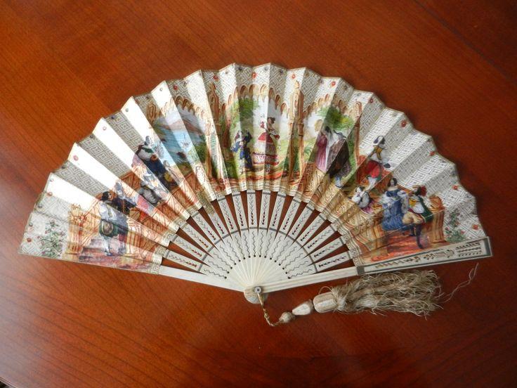 """Ventaglio """"commemorativo"""" realizzato per la messa in scena da parte della ballerina Fanny Elssler del balletto Le Diable Boiteux - all' Academie Royale de Musique- Paris 10 dicembre 1838"""