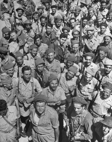 Not published in LIFE. Israeli soldiers, seen shortly after the establishment of the state of Israel, exact location unknown, May 1948.
