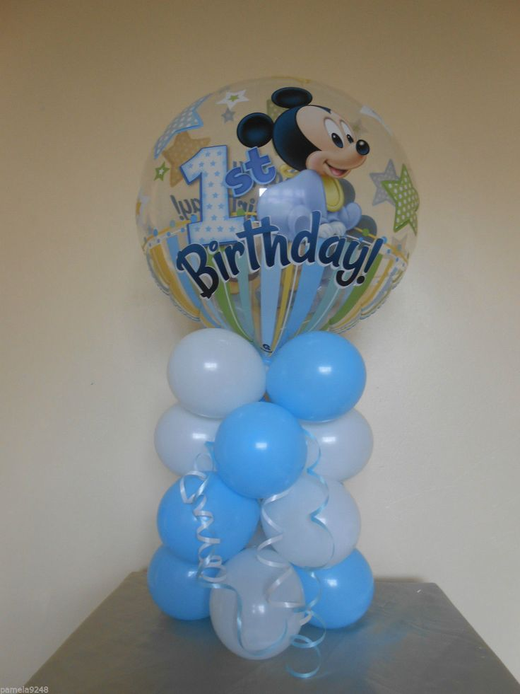 New mickey mouse 1st birthday bubble balloon table for Balloon decoration for first birthday