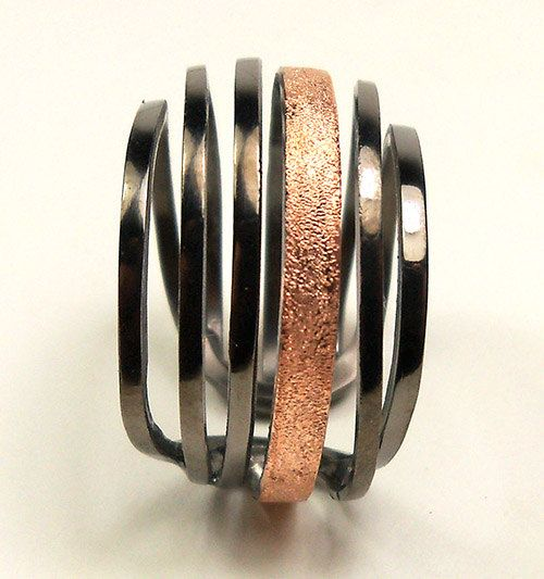 Sterling silver 925 black rodium pink gold plated ring - statement wrap ring made in Greece