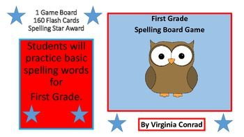 Get kids working on general words that first graders should know how to spell. There is one game board, 160 spelling word cards, and 1 spelling star award template. Just copy, laminate, and cut out everything for the game. Put the word cards in a baggie and the game is ready to go!