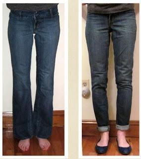 Jeans Refashion tutorial: Flared to straight leg