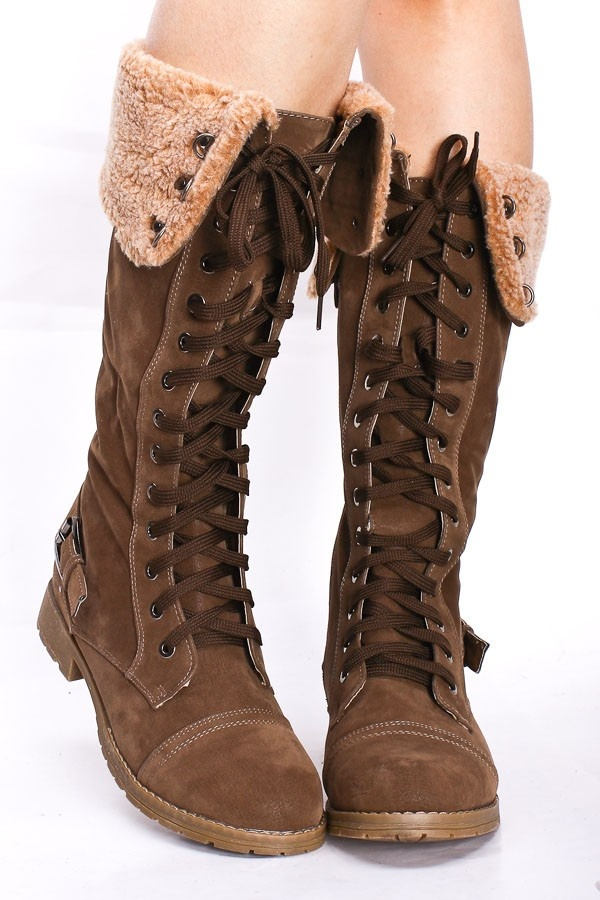 COGNAC TALL CUFFED LACE UP BOOTS Please!!!