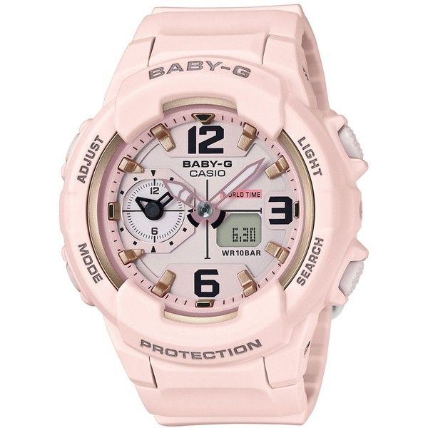 G-Shock Women's Analog-Digital Baby-g Pink Resin Strap Watch 49mm... (4,080 THB) ❤ liked on Polyvore featuring jewelry, watches, pink, g shock watches, pink watches, pink jewelry, digital and analog watches and g shock wrist watch