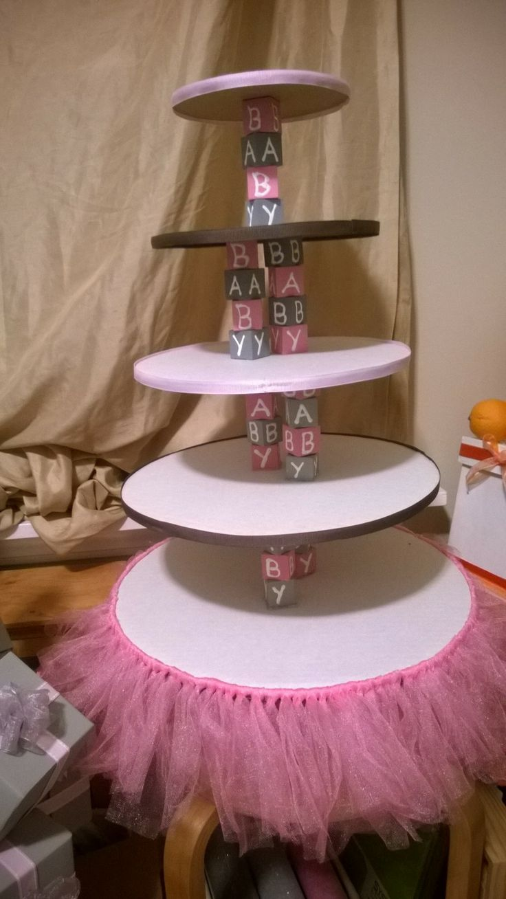 Baby block tutu cupcake stand