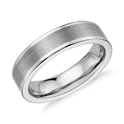 Satin Finish Wedding Ring in White Tungsten Carbide (6mm)