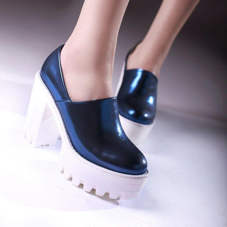 Chunky Heel Pumps Crack High Heels Platform Shoes Woman