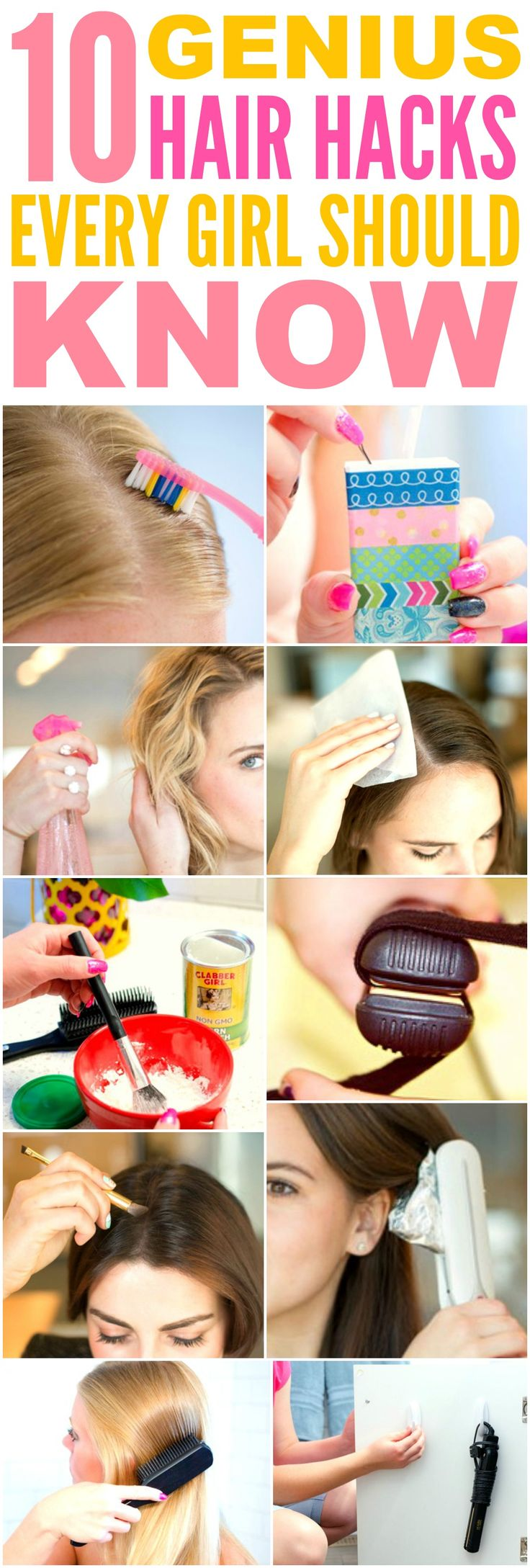 These 10 genius hair hacks every girl should know are THE BEST! I'm so glad I found these AMAZING tips! Now I have some awesome ways to save time and get cute hair! Definitely pinning!